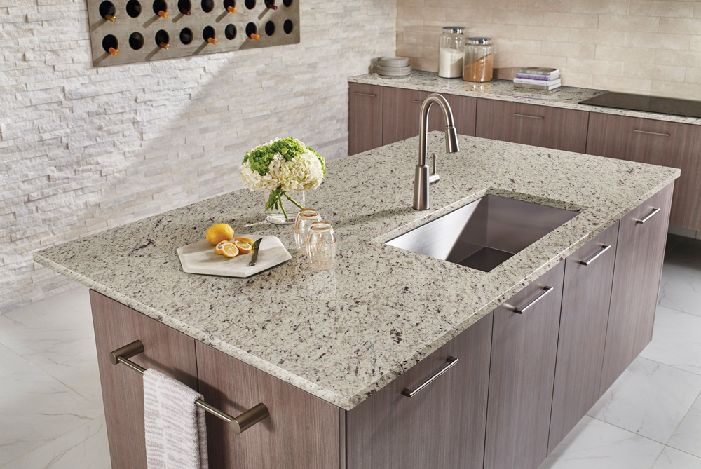 White Ornamental Kitchen Countertop